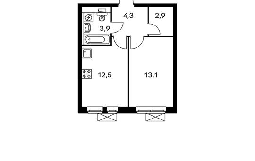 1-комнатная квартира, 36.8 м<sup>2</sup>, 9 этаж