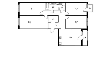4-комнатная квартира, 119.4 м<sup>2</sup>, 2 этаж