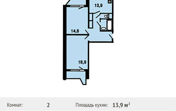 2-комнатная квартира, 65.3 м<sup>2</sup>, 16 этаж