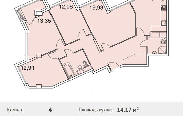 4-комнатная квартира, 103.64 м<sup>2</sup>, 5 этаж