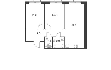 2-комнатная квартира, 60.7 м<sup>2</sup>, 7 этаж
