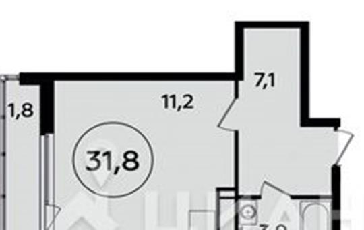 1-комнатная квартира, 31.8 м<sup>2</sup>, 15 этаж_1