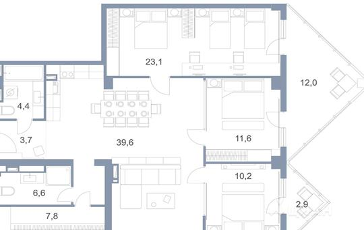 3-комнатная квартира, 107.6 м<sup>2</sup>, 4 этаж_1