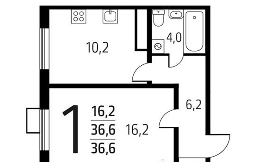 1-комн квартира, 36.6 м<sup>2</sup>, 4 этаж_1