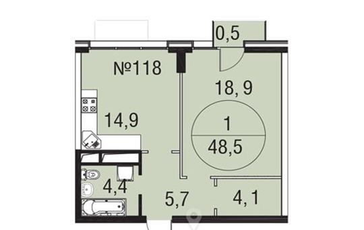 1-комнатная квартира, 48.5 м<sup>2</sup>, 3 этаж_1