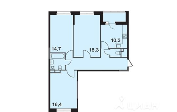 3-комнатная квартира, 80.3 м<sup>2</sup>, 5 этаж