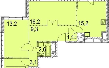 3-комнатная квартира, 77.6 м<sup>2</sup>, 16 этаж
