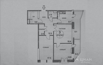 3-комнатная квартира, 93 м<sup>2</sup>, 4 этаж_1