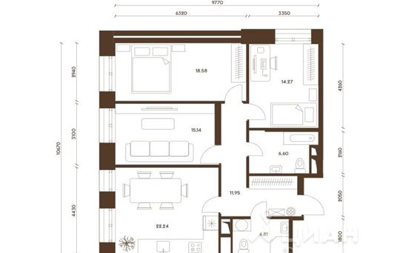 3-комнатная квартира, 93.59 м<sup>2</sup>, 17 этаж
