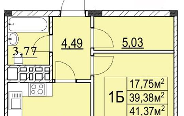 1-комнатная квартира, 41.37 м<sup>2</sup>, 2 этаж