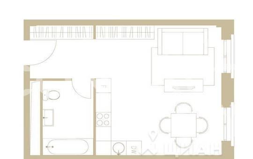 1-комнатная квартира, 39.1 м<sup>2</sup>, 4 этаж