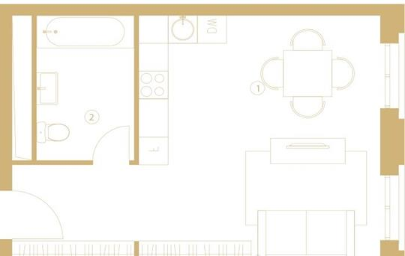 1-комнатная квартира, 39.4 м<sup>2</sup>, 6 этаж_1
