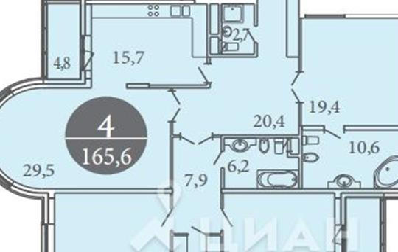 4-комнатная квартира, 166.1 м<sup>2</sup>, 1 этаж