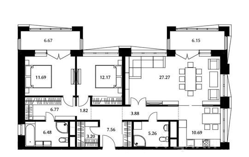 3-комнатная квартира, 96.79 м<sup>2</sup>, 21 этаж