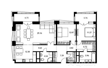 3-комнатная квартира, 100.83 м<sup>2</sup>, 4 этаж