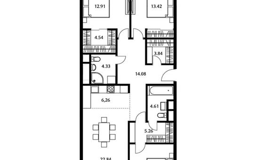 3-комнатная квартира, 104.7 м<sup>2</sup>, 19 этаж