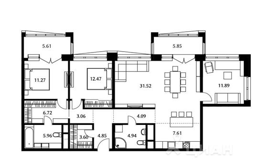 3-комнатная квартира, 107.98 м<sup>2</sup>, 21 этаж