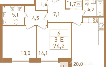 3-комнатная квартира, 75.6 м<sup>2</sup>, 12 этаж_1
