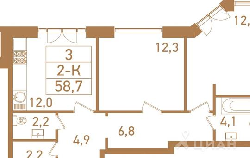 2-комн квартира, 60.5 м<sup>2</sup>, 20 этаж_1