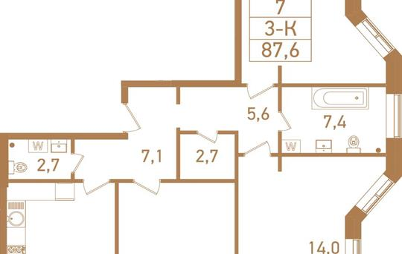 3-комнатная квартира, 88.3 м<sup>2</sup>, 10 этаж_1
