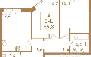 3-комнатная квартира, 71.5 м<sup>2</sup>, 16 этаж_1