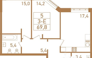 3-комн квартира, 70.1 м<sup>2</sup>, 23 этаж_1
