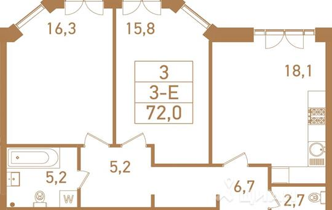 3-комнатная квартира, 74.1 м<sup>2</sup>, 21 этаж_1