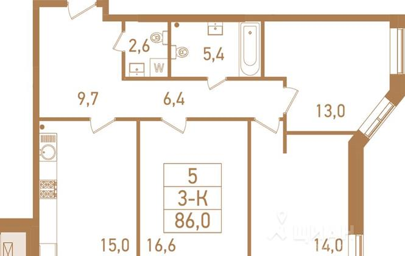 3-комнатная квартира, 86.8 м<sup>2</sup>, 7 этаж_1