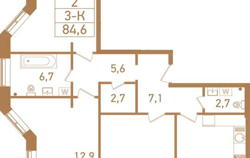 3-комнатная квартира, 85.3 м<sup>2</sup>, 23 этаж_1