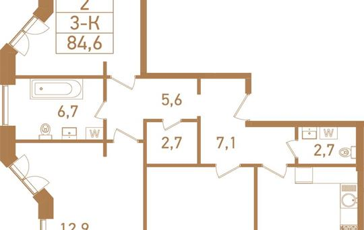 3-комнатная квартира, 88.1 м<sup>2</sup>, 22 этаж_1
