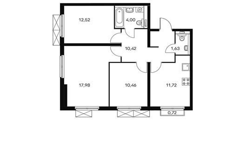 3-комнатная квартира, 68.9 м<sup>2</sup>, 16 этаж