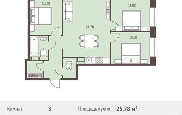 3-комнатная квартира, 71.8 м<sup>2</sup>, 6 этаж