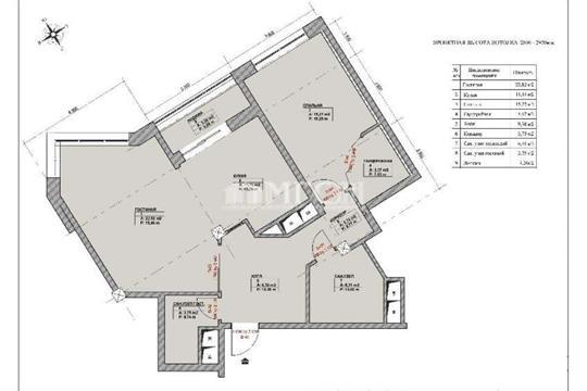 2-комн квартира, 75 м2, 8 этаж