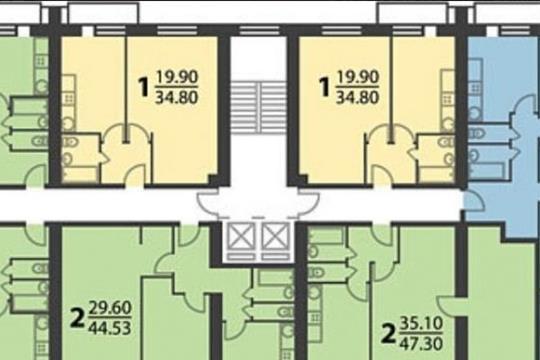 2-комнатная квартира, 49 м<sup>2</sup>, 2 этаж