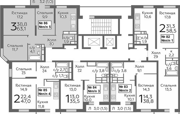 3-комнатная квартира, 63.1 м<sup>2</sup>, 18 этаж