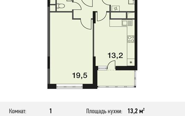 1-комнатная квартира, 45.4 м<sup>2</sup>, 5 этаж
