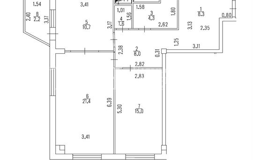 2-комн квартира, 69.3 м<sup>2</sup>, 15 этаж_1