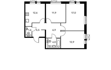 3-комнатная квартира, 72.4 м<sup>2</sup>, 20 этаж