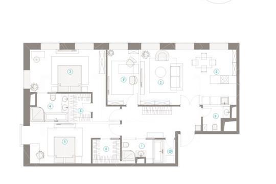 3-комн квартира, 115 м2,  этаж