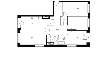 4-комнатная квартира, 122.6 м<sup>2</sup>, 19 этаж