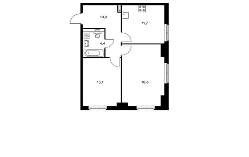 2-комнатная квартира, 60.1 м<sup>2</sup>, 7 этаж