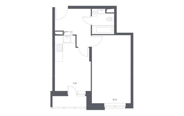 1-комнатная квартира, 38.33 м<sup>2</sup>, 7 этаж_1
