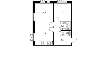 2-комнатная квартира, 52.4 м<sup>2</sup>, 2 этаж