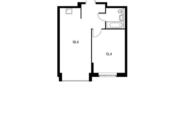 1-комнатная квартира, 42.9 м<sup>2</sup>, 1 этаж_1