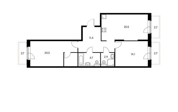2-комнатная квартира, 75 м<sup>2</sup>, 2 этаж_1