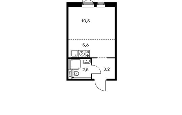 1-комнатная квартира, 21.8 м<sup>2</sup>, 7 этаж_1