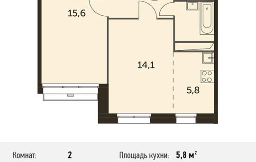2-комнатная квартира, 45.9 м<sup>2</sup>, 4 этаж