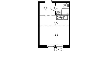 1-комнатная квартира, 23.4 м<sup>2</sup>, 2 этаж