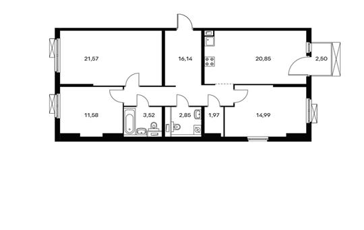 3-комнатная квартира, 94.22 м<sup>2</sup>, 9 этаж