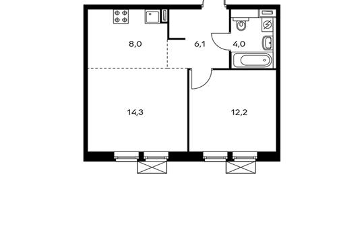 2-комнатная квартира, 44.6 м<sup>2</sup>, 7 этаж